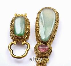 19c Chinois Gilt Bronze Dragon Jade Jadeite Tourmaline Sculpté Ceinture Boucle