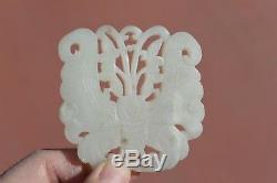 19c Chinois Jade Blanc Néphrite Sculpté Sculpté Plaque Pendentif Papillon De Papillon