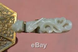 19c Chinois Jade Sculpté Sculpture Crochet Dragon Ceinture En Laiton Doré Fer Et Couverture
