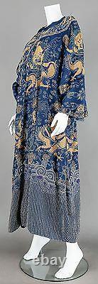 19ème Siècle Antique Chine Chinoise Broderie Robe De Soie D'été Blue Dragon