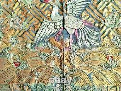 19ème Siècle Chine Chinois Impérial Qing Mandarin Fil D'or Rang Badge Buzi