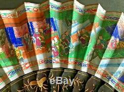 19ème Siècle Chine Chinoise Canton Cent Visages Laque Papier Fan Avec La Boîte