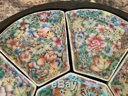 19ème Siècle Chinois Exceptionnelle Famille Rose Sweetmeat Situé Dans Boîte Sculpté