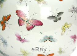 19ème Siècle Chinois Qing Guangxu Famille Rose Vase Globulaire En Porcelaine De 100 Papillons