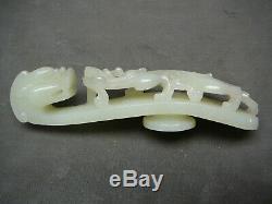 19thc Grande Boucle De Ceinture De Jade Blanc Lumière Céladon Chinois 5,25 Longue