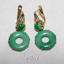 1,35 Paire De Jaune D'or Chinois 19k & Green Jadeite Boucles D'oreilles Jade (8,9 Grammes)
