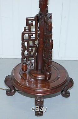 1 De 2 Lampes En Bois Debout Sol Dragon 1920 La Main Chinoise Sculpté Vue Partielle Set