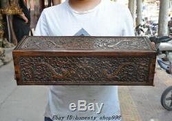 20 Vieux Chinois Huanghuali Bois Sculpté Boîte De Dragon Totem Stockage Coffre Au Trésor