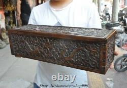20 Vieux Chinois Huanghuali Bois Sculpté Dragon Totem Coffre Au Trésor