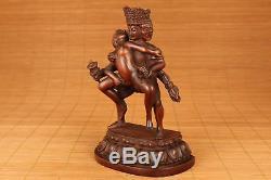 20ème Rare Chinois Ancien Buis Sculpté À La Main Tibet Mal Bouddha Grande Statue Figure