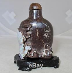 2.3 Tabatière Boulder Australienne Sculptée Par Des Chinois, Opal, Avec Qilin Ou Foo Lion