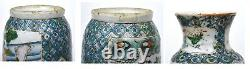2 Fin 19c Chinese Famille Rose Verte Porcelaine Vase Lion Oreilles Stagiaire Figure