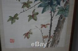 2 Pcs Chinois Original Oiseau Fleur Et Aquarelle Peinture Sur Soie Signé