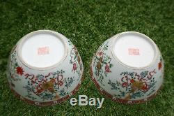 2 Pièces Peintes Bowl Marques Porcelaine Chinoise Main