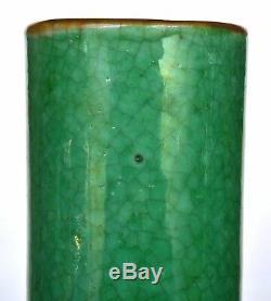 2 Vase En Porcelaine Monochrome En Porcelaine Verte Craquelée Chinoise Début 20c