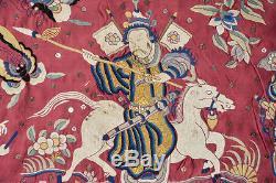 360x55 CM Ancien Panneau Chinois En Soie Brodie Dynastie Qing De Broderie