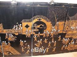 4 Panneaux Muraux Vintage Chinois Laqués Et Dorés Suspendus 100 Garçons Grands 72