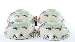 4 Vieille Famille Chinoise Rose Porcelain Bowl Phoenix Nonya Nyonya Peranakan Strait