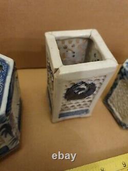 5 D'antique Chinois Bleu Et Blanc Réticulé Cricket De Porcelaine Cages Pots De Brosse
