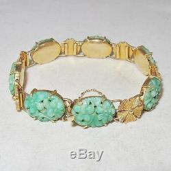 6.4 Antique Chinois 14k Bracelet En Or Jaune Avec Vert Jade Jadéite (26,3 Grammes)