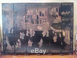 6 Panneaux Écran Chinois Coromandel, À Deux Faces Paravents 72tx 96w Vintage
