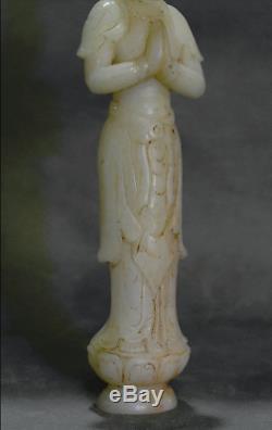 8.4 Antiquité Bouddhisme Chinois Naturel Jade Blanc Sculpté Statue De Kwan-yin Guan Yin