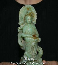 8.8 Vieux Chinois Natural Green Jade Carving Kwan-yin Guan Yin Goddess Dragon