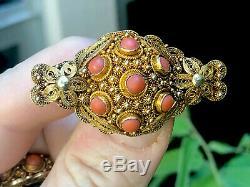 A + Antique Chinese Export Gilt Argent Corai Bracelet Boucles D'oreilles Bague & Broche Set