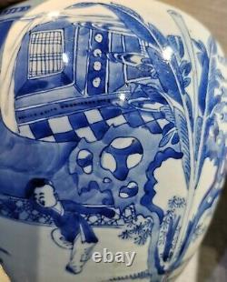 A Fine Chinese Antique Blue And White Porcelain Jar Kangxi Period (17e/18e C)