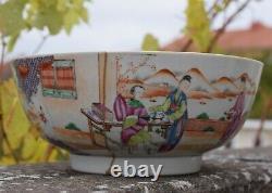 A Large Antique Chinese Punch Bowl Qianlong Période 18ème Siècle