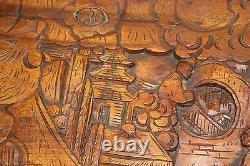 Ancien Bois Chinois Sculpté Grand Rangement Coffre Dragons Trunk Hommes Détaillé