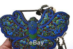 Ancien Chinois En Argent Sterling Émail Papillon Verrouillage Turquoise Corail Collier De Perle