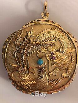 Ancien Chinois Sculpté 50 G De L'or Corail Dragon Paradis Des Oiseaux Figural Pendentif Disque