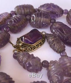 Ancien Collier De Perles D'améthyste Chinoises Sculptées En Argent Doré