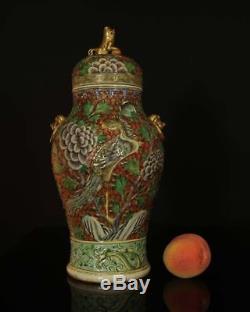 Ancien Exceptionnel Soupape Phoenix En Porcelaine Chinoise Chinoise 19ème