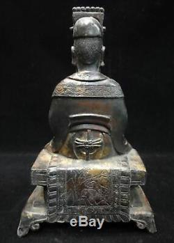 Ancien Officier De La Dynastie Ming Chinoise Hairui Bronze Statue De Bouddha Figure Sculpture