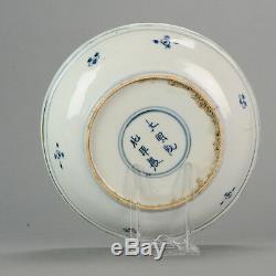 Ancien Plat Chinois Ca 1600 En Porcelaine Kraak Plat À Fleurs Chenghua Marqué