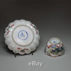 Ancien Porte-thé Et Soucoupe En Porcelaine De Chine, Chine (kangxi, 1662-1722)