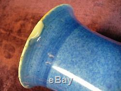 Ancien Vase En Porcelaine De Chine Bleu Poudré Kangxi 17.25 Bon État