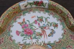 Ancienne Fleur En Forme De Chinois Export Famille Rose Canton Plat De Médaillon