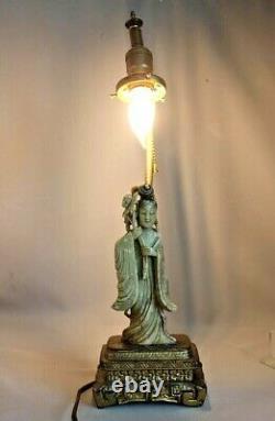 Ancienne Vintage Chinois Sculpté Savon Pierre Statue Figurine Lampe De Table Asiatique