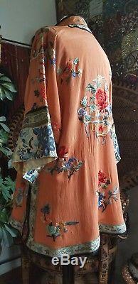 Années 1920, Robe Chinoise Ancienne En Soie Brodée Veste Veste De Pêche Asiatique Q'ing
