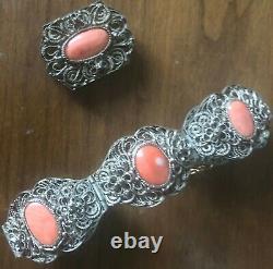 Antiquaire Chinois Export Gilt Argent Filigre Bracelet De Corail Naturel