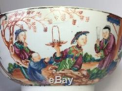 Antique 18ème Siècle Chinois D'exportation De Porcelaine Punch Bowl