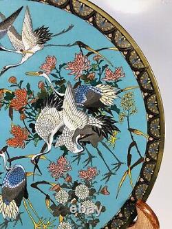 Antique 1920s Chinese Cloisonne Émail Sur Plaque De Bronze 12