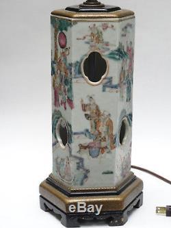 Antique 19c Qing Chinois Famille Hexagonale Famille Chapeau De Rose Vase Monté Comme Lampe