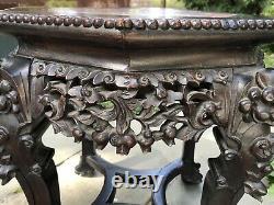 Antique 19cchinois Sculpté Rosewood & Lion De Marbre / Table De Chien Foo / Taboret / Stand