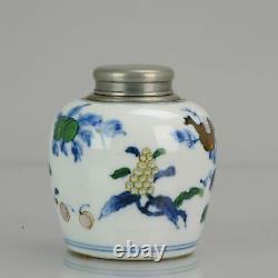 Antique 19ème C Porcelaine Doucai Tea Caddy Marked Fruit Decoration Chinese Chi