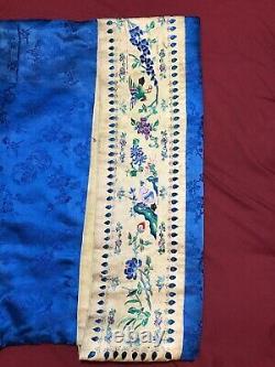 Antique 19ème C Qi'ing Chinois Brodé Damask Silk Women Robe Broderie