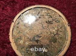 Antique 19ème Qi'ing Canton Chinois Brodé Panneau De Soie Encadré Broderie